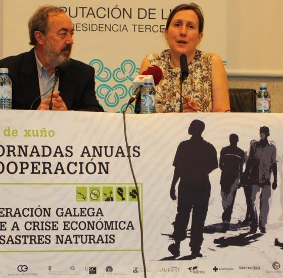O presidente do Fondo Galego, Alfredo Novoa, e a vicepresidenta terceira da Deputación de Lugo, María Xosé Vega, inauguraron as VI Xornadas Anuais de Cooperación.